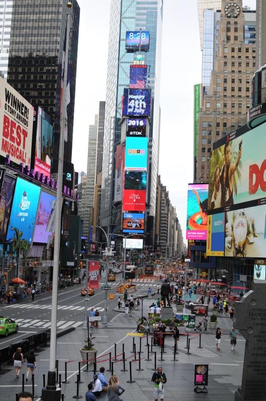 Times square tidigt på morgonen den 4 juli.